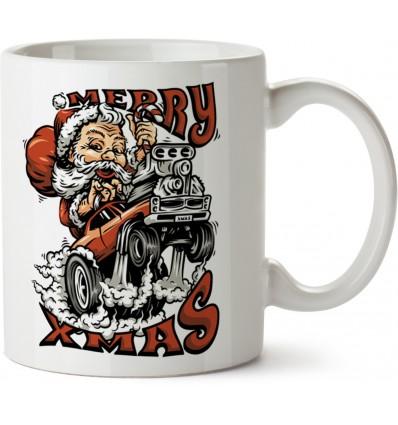 Kubek z motywem świątecznym Santa Hotrod