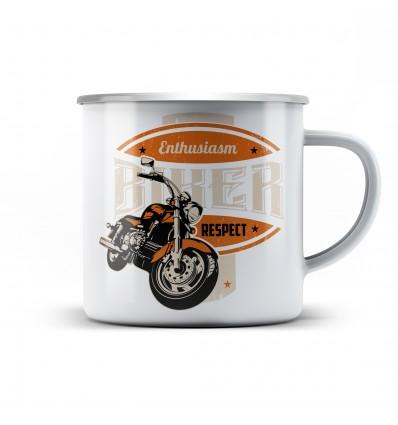 Plechový hrnek pro motorkáře Enthusiasm biker