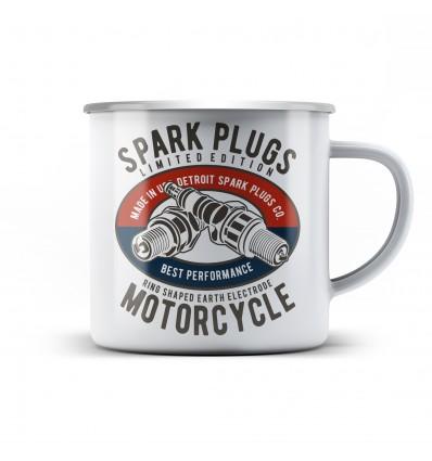 Plechový hrnek pro motorkáře Spark plugs