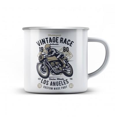 Plechový hrnek pro motorkáře Vintage race