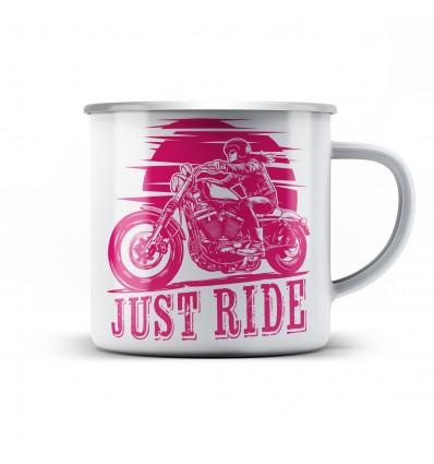 Plechový hrnek pro motorkářku Biker girl