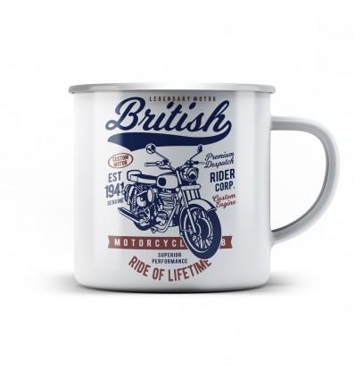 Plechový hrnek pro motorkáře British motorcycle