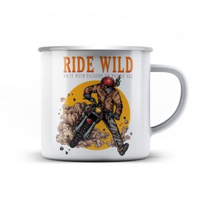 Plechový hrnek pro motorkáře Ride wild