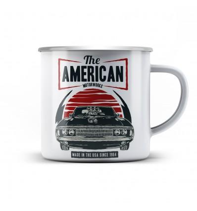 Plechový hrnek a autem American muscle