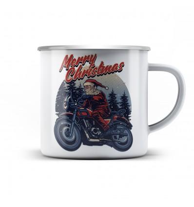 Plechový hrnek pro motorkáře Santa rider