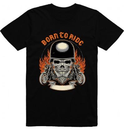 Pánské motorkářské tričko Born to ride Skull